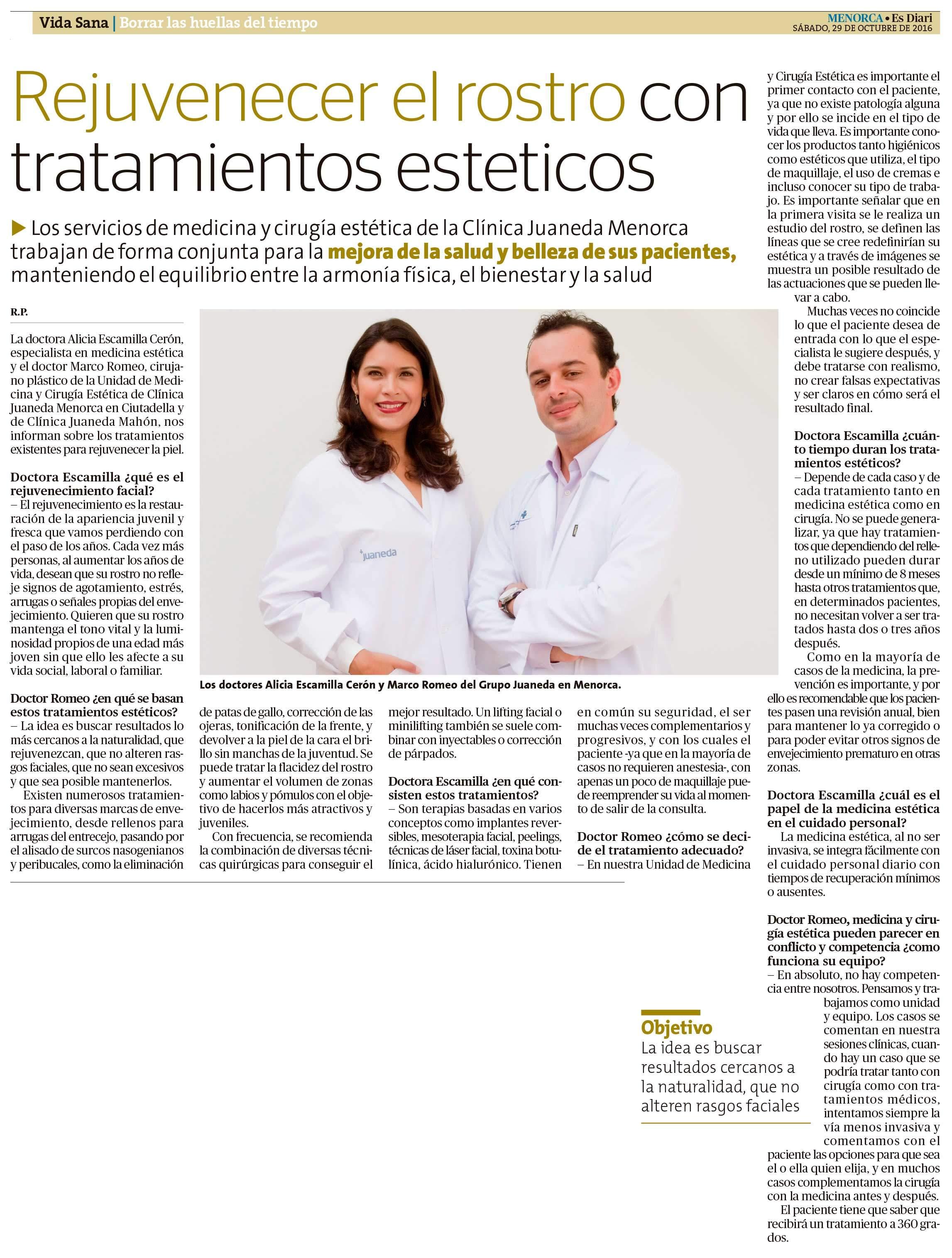 Artículo Especial en Periódico Menorca Info - Dr Marco Romeo